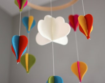 Baby Mobile - 100% Merino Wool Felt - Eco-Friendly - Natural - Heirloom Quality - Hot Air Balloon Mobile - Bright Colors