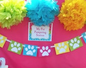 Cat and Dog Paw Print Bunting Banner Printable - Instant Download - Meow, Sit Stay and Play Collection