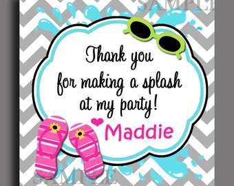 Girls Splash Favor Tags Printable or Printed with FREE SHIPPING- ANY Wording - Calling Cards, Gift Tags - Super Splash Collection