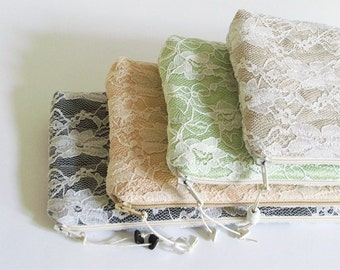 Romantic Wedding Clutches, Set of 8, Bridesmaids gift bags, Choose Color for Bags