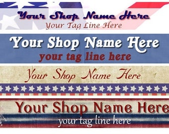 Large Etsy Facebook Artfire Blog Website Red White Blue Flag Stars Cover Photo  Ready Made Patriotic Banner and Avatar Set