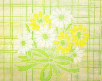 Vintage Wrapping Paper - Silkscreen Flower Pattern - Full Sheet Gift Wrap