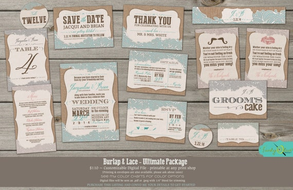 Burlap Lace Invitation Wedding Save the Date RSVP Menu Table – Wedding Save the Date and Invitation Packages