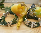 Flowers bracelet, flowers cuff, leather cuff, leather bracelet, flower leather cuff, rainbow cuff, red cuff, green cuff, flowers bangle