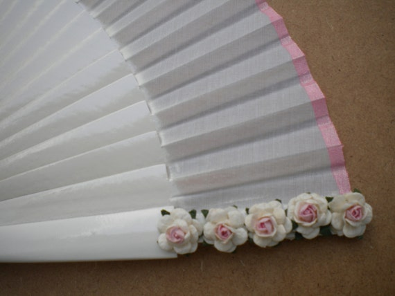 White Bridal 24cm Hand Fan with Mulberry Paper Flowers and Matching Border - Any Color MTO