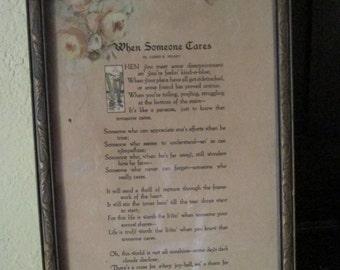 """Antique Friendship Poem / Love Poem Framed / """"When Someone Cares"""" / James Hilkey"""