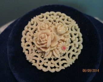 Vintage Celluloid Pin Occupied Japan / Mother's Day Jewelry / Carved Flowers Brooch