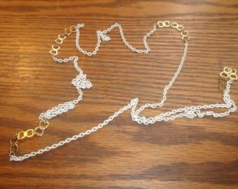 vintage necklace white goldtone chain