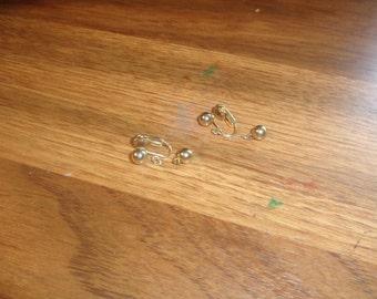 vintage clip on earrings goldtone ball dangles
