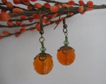 Fall Pumpkin Earrings-Halloween Orange Glass with Peridot Crystal