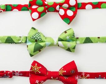 Boys Christmas Bow Ties - Polka Dots or Snowflakes - Little Boy Bowtie
