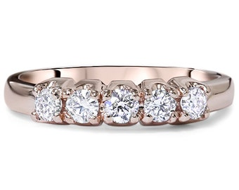 VS .45CT 5-Stone Diamond Wedding Ring 14K Rose Gold Size 4-9