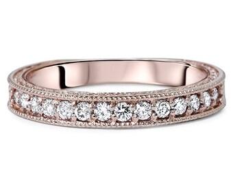 VS .30CT Vintage Diamond Rose Gold Ring 14 Karat Womens Antique Hand Engraved Style Milgrain Size 4-9