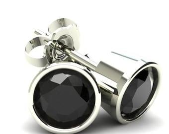 Black Diamond Studs 1.00CT Round Brilliant Cut Black Diamond Stud Earrings 14K White Gold, Black Diamond, Round Brilliant, Diamond Studs