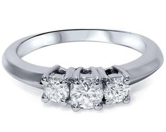 Diamond 1.00CT Three Stone Ring 14K White Gold