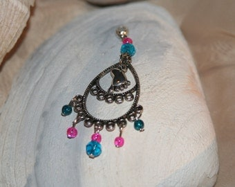 blue and pink baby foot pendant