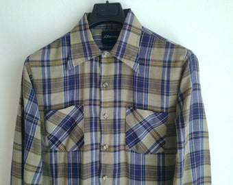 Plaid Brushed Cotton Men's Shirt / Navy Blue, Tan, Gold Tartan Plaid Casual Shirt / Soft Draped Fabric /Size Medium