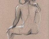 Nude back - Original Charcoal Pencil Drawing from Life Model