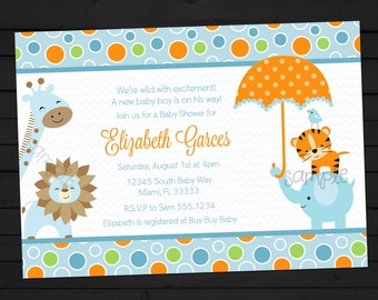 Safari Baby Shower - Baby Blue - Animals - Baby Shower - Blue or Pink - Digital File - Invitation - DIY