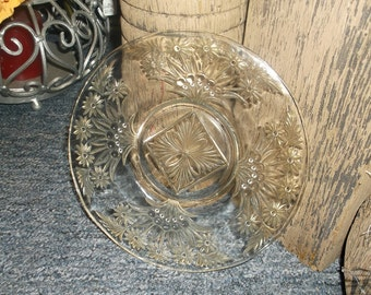 Pressed Glass Dessert Plate Clear