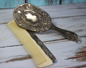 Vintage Silver Plated Victorian Silver Plated Brush & Comb Set