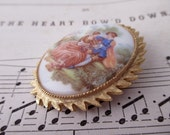 vintage brooch - victorian, romantic, lovers, Fragonard