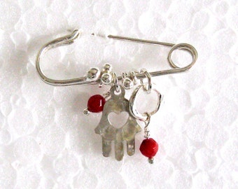 Baby Crib Charm  Brooch. Sterling Silver Good Luck Brooch. Safety Pin Hamsa with Coral. Handmade Amulet Brooch