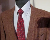 Mens HARRIS TWEED Blazer, Sports Coat, Suit Jacket, Wool, Size 42 Regular, Traditional 3/2 Styling, Multi Color Brown & Red Tones, Free Ties