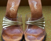50s formal size 7 vintage slip on heels shoe