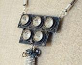 Handmade necklace w/ 19th Century oversized crystal half belt buckle, antique silver tassel with antique nailheads & grey/slate swarovski