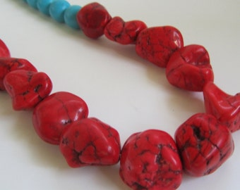 Boho Statement Necklace, Red Nugget and Turquoise Beads