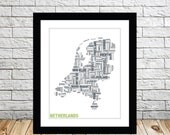 The Netherlands Typography Map 8x10 Print