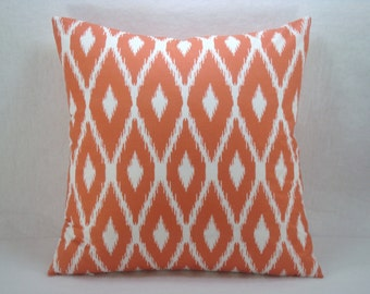 Orange and White Pillow Modern Ikat Pillow Decorative Accent Toss Pillow 18x18