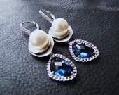 Blue Bridal Long Dangle earrings with South sea shell pearls on lace cubic hook ear wire earrings - Montana Blue