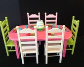 """Pink Donné table 6 chair set for 18"""" or American Girl Dolls"""