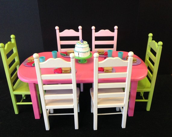 American Girl Doll: Furniture, doll table 6 chair set, pink and green
