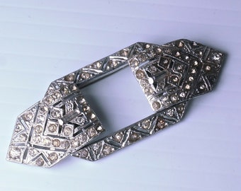 art Deco DUETTE BROOCH. rhinestone. vintage . antique dress clip.  No,003011