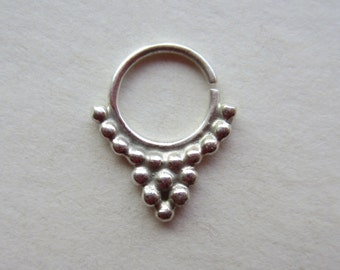 Tribal Drop (.999 silver) : Nose Ring .. Septum Jewelry .. Silver Nose Jewelry .. Aprilsblissed .. Nosebling .. Tribal Nose Adornment