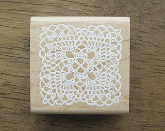 Lace Rubber Stamp, Lace Stamp - Square