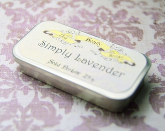 Solid Perfume - Simply Lavender- Perfume Crème Tin - Lavender with Rose Petals and Lemon Zest