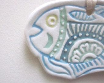 Large Blue Green Ceramic Textured Fish Ornament