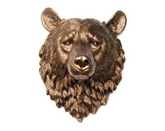 Faux Taxidermy - Metallic Bronze Bear Wall Mount - Faux Taxidermy BE09
