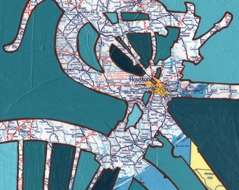 Bike Houston --13x13 Archival Print of bicycle map painting with map of Texas, featuring Houston, Baytown