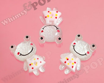 Kawaii White Transparent Glitter and Pink Dress Girl Frog Flatback Cabochons, Frog Cabochons, Toad Cabochons, Animal, 34mm (R6-095,C2-10)