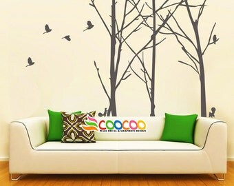 "Wall Decal, wall Stickers ,Tree Wall Decals ,Wall decals, Removable, 3 Staggered Branch Tree & birds 96""H"