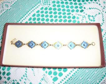 Authentic Vintage Blue Glass Rhinestone Gold Bracelet