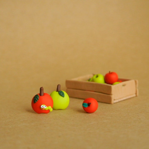 Apple Post Earrings - Fruity jewelry - Red and green apples - Fun mismatched jewelry