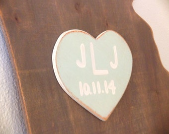 Custom Wooden State Wedding Guestbook - 2 ft Georgia in Distressed Nantucket - any state/country available in many colors