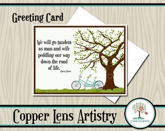 Greeting Card, You'd Look Sweet Upon The Seat, Tandem, Note Card, Blank Card, Mailable Card, Stationary, Bicycle, Bicycle Built For Two