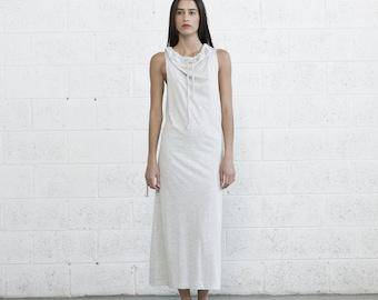 Draw string maxi dress , Knit Maxi Dress Ivory
